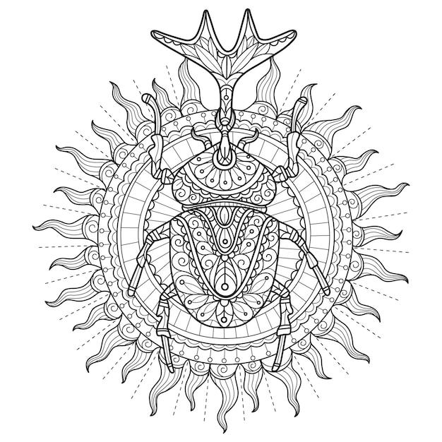 Scarabeo al sole. illustrazione di schizzo disegnato a mano per libro da colorare per adulti.