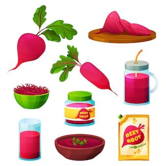 Cibo a base di barbabietola e prodotti a base di barbabietola per mangiare e cucinare vegetariani