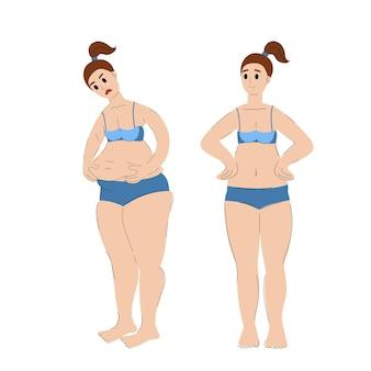 Prima e dopo l'aumento di peso e la perdita di peso donna magra e grassa illustrazione vettoriale d'archivio