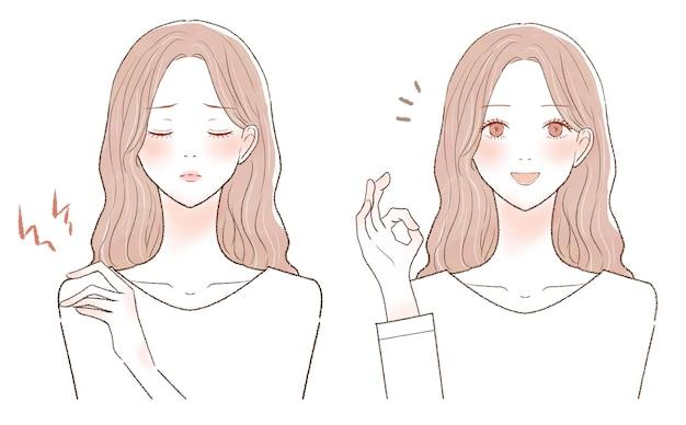 Prima e dopo di una donna che soffre di spalle rigide. su uno sfondo bianco.