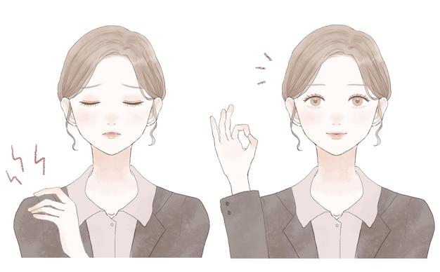 Prima e dopo di una donna in completo che soffre di rigidità alle spalle. su uno sfondo bianco.