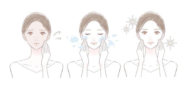 Prima e dopo delle donne che soffrono di pelle opaca. su sfondo bianco.