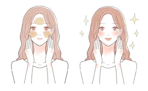 Prima e dopo per le donne che si prendono cura dei pori con lo scrub. su uno sfondo bianco.