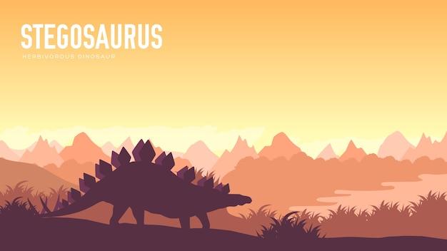 Prima della nostra era il design della terra. dinosauro stegosauro nel suo habitat. creatura preistorica della giungla.