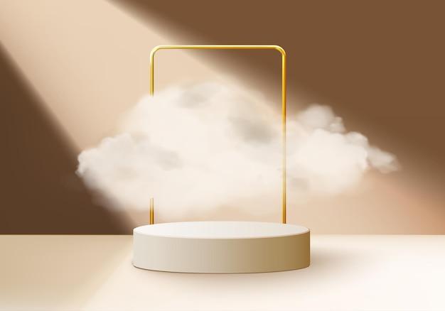 Sfondo beige vettoriale rendering 3d con podio e scena minima della nuvola, sfondo del display del prodotto minimo 3d forma geometrica cielo nuvola marrone pastello. stage 3d render prodotto in piattaforma