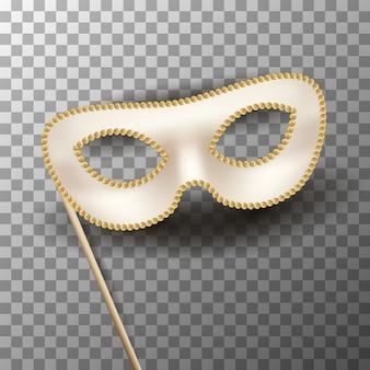 Maschera di carnevale beige con decorazioni in oro su trasparente