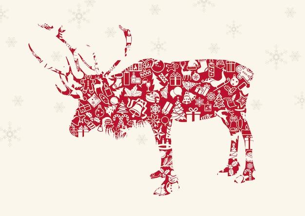 Sfondo di natale beige con fiocchi di neve d'argento e una renna rossa formata da icone natalizie