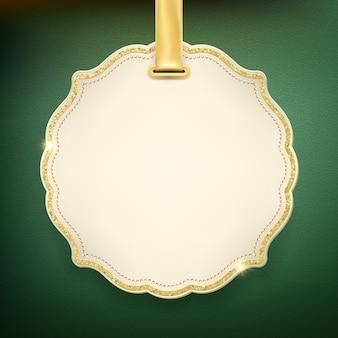 Etichetta natalizia beige con nastro.