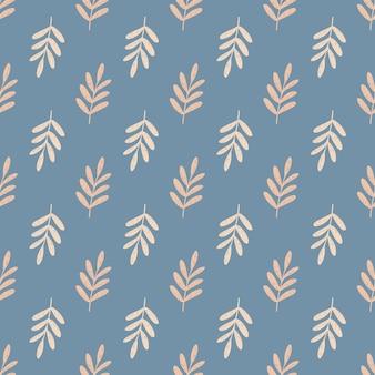 Beige piccolo fogliame rami seamless pattern. ornamento floreale disegnato a mano su sfondo blu.