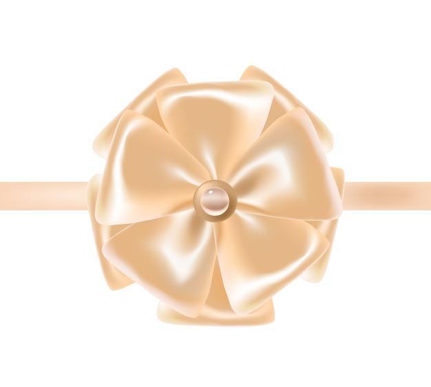 Nastro o nastro in raso beige decorato con fiocco.