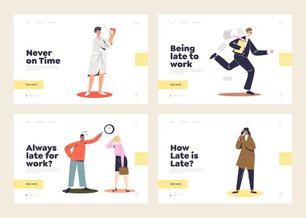 Essere in ritardo concetto di set di pagine di destinazione con uomini d'affari in fretta e in ritardo a casa, correre, incolpare in ufficio o in attesa.