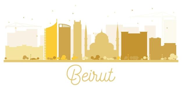 Siluetta dorata dell'orizzonte della città di beirut. illustrazione vettoriale. semplice concetto piatto per presentazione turistica, banner, cartellone o sito web. concetto di viaggio d'affari. paesaggio urbano con punti di riferimento