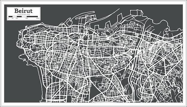 Mappa della città di beirut libano in stile retrò. illustrazione di vettore. mappa di contorno.