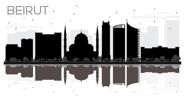 Siluetta in bianco e nero dell'orizzonte della città di beirut libano. illustrazione vettoriale. concetto di viaggio d'affari. paesaggio urbano di beirut con punti di riferimento.