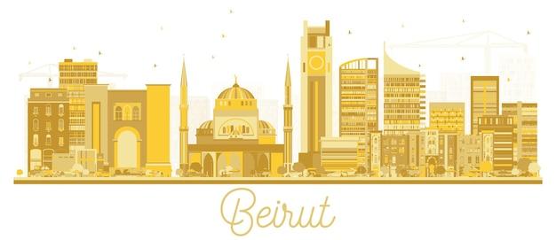 Siluetta dorata dell'orizzonte della città di beirut libano. illustrazione di vettore. viaggi d'affari e concetto di turismo con architettura moderna. paesaggio urbano di beirut con punti di riferimento.