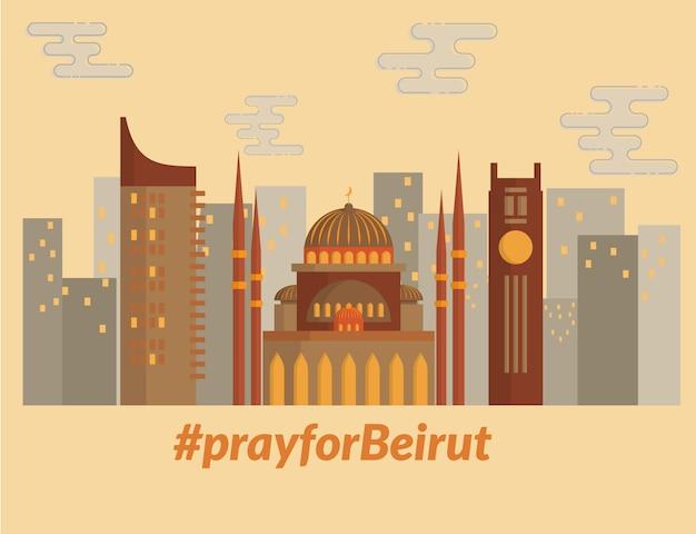 Disegno dell'illustrazione del punto di riferimento di beirut libano. pregate per beirut