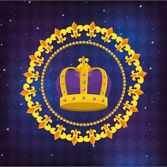 Icona rotonda con corona ingioiellata