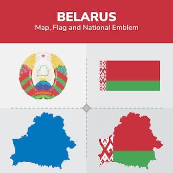 Bielorussia mappa bandiera e emblema nazionale