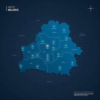 Illustrazione della mappa della bielorussia con punti luce al neon blu - triangolo su gradiente blu scuro. divisioni amministrative, città, confini, capitali.