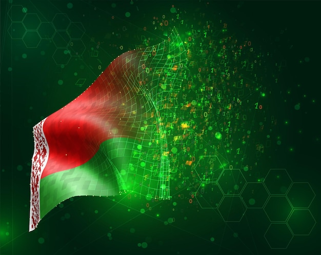 Bielorussia; vettore bandiera 3d su sfondo verde con poligoni e numeri di dati