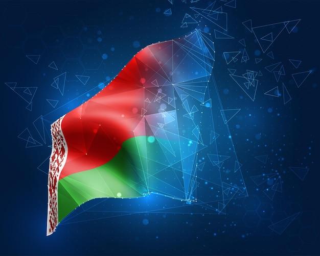 Bielorussia; bandiera vettoriale, oggetto 3d astratto virtuale da poligoni triangolari su sfondo blu