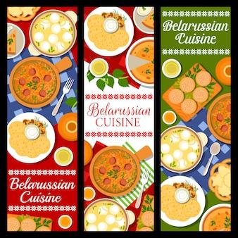 Banner di cibo, piatti e pasti della cucina bielorussa