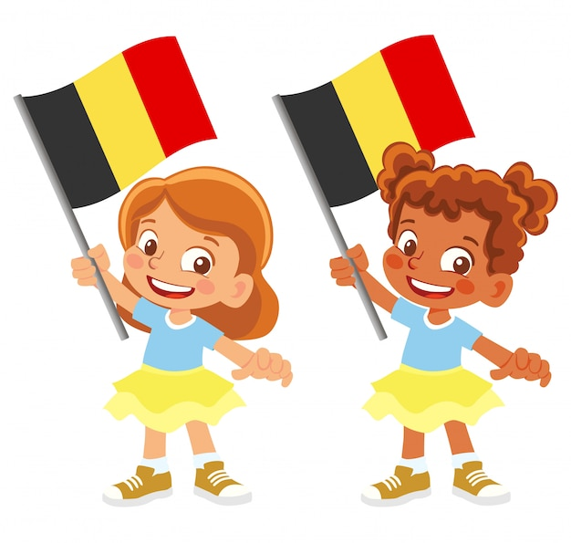Insieme della bandiera del belgio in mano