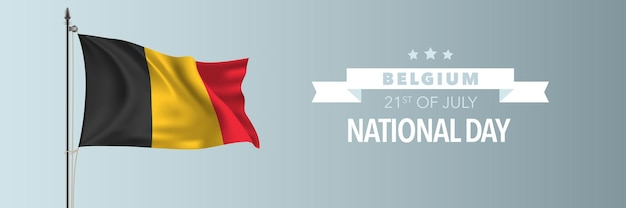 Illustrazione felice di festa nazionale del belgio. festa belga 21 luglio elemento di design con bandiera sventolante sull'asta della bandiera