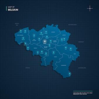 Illustrazione della mappa del belgio con punti luce al neon blu - triangolo su gradiente blu scuro. divisioni amministrative, città, confini, capitali.