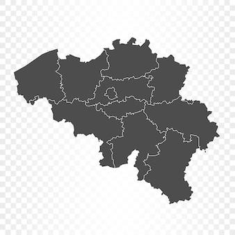 Mappa del belgio isolata su trasparente