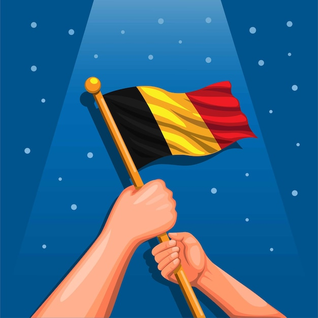 Bandiera nazionale del belgio a portata di mano simbolo per la celebrazione del giorno dell'indipendenza 21 luglio concetto nel fumetto malato
