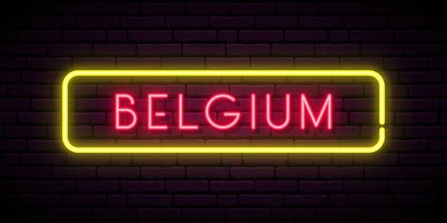 Insegna al neon del belgio