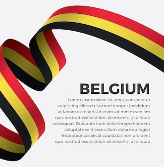 Illustrazione di vettore della bandiera del nastro del belgio su una priorità bassa bianca vettore premium