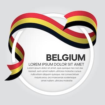 Bandiera del nastro del belgio, illustrazione vettoriale su sfondo bianco
