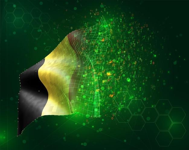 Belgio, bandiera vettoriale 3d su sfondo verde con poligoni e numeri di dati