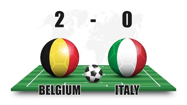 Belgio contro italia. pallone da calcio con motivo a bandiera nazionale sul campo di calcio in prospettiva. sfondo mappa del mondo punteggiato. risultato della partita di calcio e tabellone segnapunti. torneo di coppa sportiva. disegno vettoriale 3d.