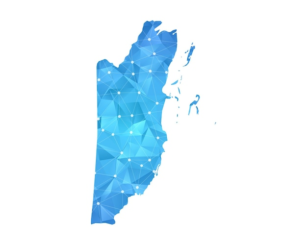 Belize mappa linea punti geometrici astratti poligonali.