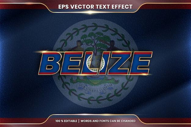 Belize con la bandiera sventolante del suo paese nazionale, stile di effetto testo modificabile con concetto di colore oro sfumato