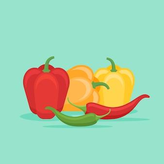 Peperoni a campana e peperoncino in stile piatto.