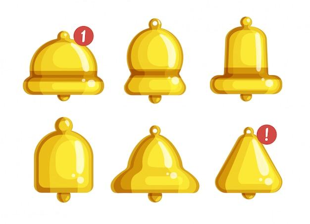 Icona stabilita del fumetto isolata notifica di bell. avviso di illustrazione su sfondo bianco. icona del fumetto imposta notifica campana.