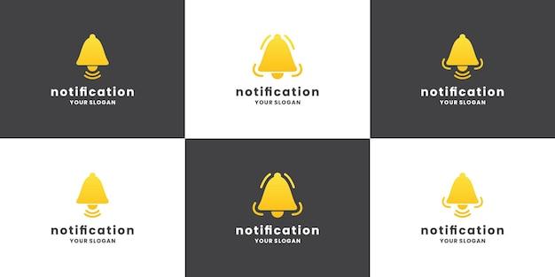 Collezione di design del logo di notifica campana. impostare la notifica dell'icona.