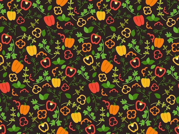 Reticolo senza giunte del fumetto di peperone ed erbe aromatiche verdure disegnate a mano giallo, verde e rosso paprika piatto colorato cibo peperone dolce.