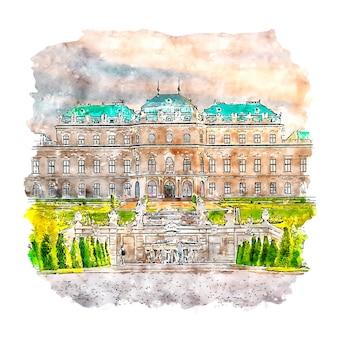 Disegnato a mano di schizzo dell'acquerello del museo del belvedere