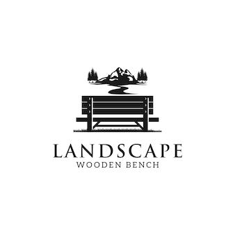 Logo dell'illustrazione della natura della panchina e della montagna