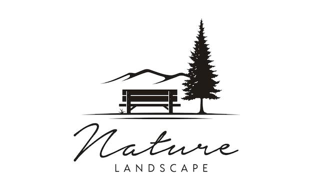 Panchina e natura illustrazione logo