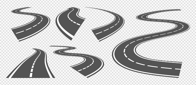 Strade in flessione. guida su strada asfaltata, autostrada curva o percorso di svolta. vector set prospettiva strade grigie. illustrazione percorso striscia, autostrada viaggio, avvolgimento speedway