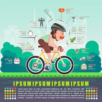 Vantaggi del ciclismo bicicletta, illustrazione