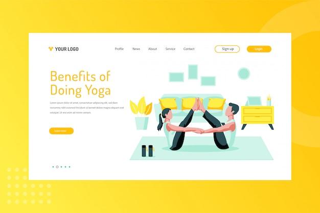 Vantaggi di fare yoga illustrazione sulla pagina di destinazione