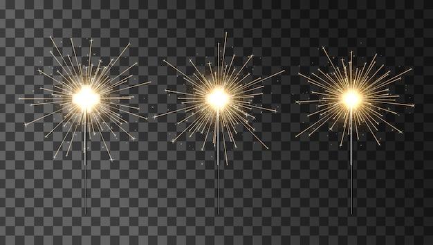 Bengala incendio impostato. set di stelle filanti. elemento luminoso decorativo sparkler.