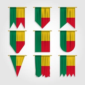 Bandiera del benin in diverse forme, bandiera del benin in varie forme